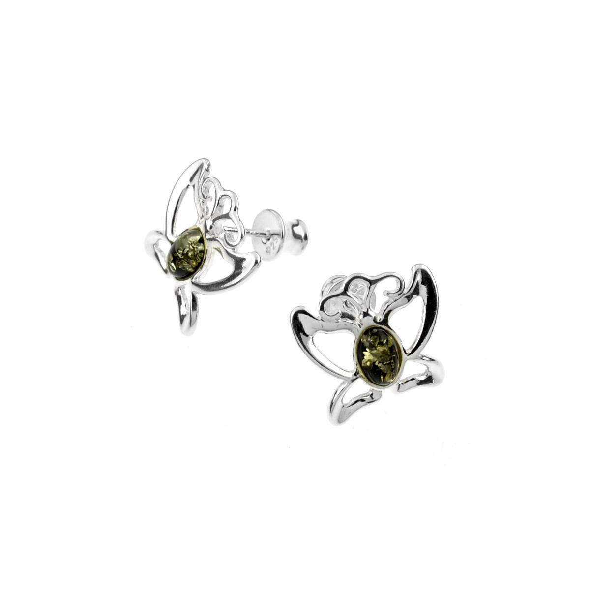 Stříbrné náušnice - motýlci ze zeleného jantaru