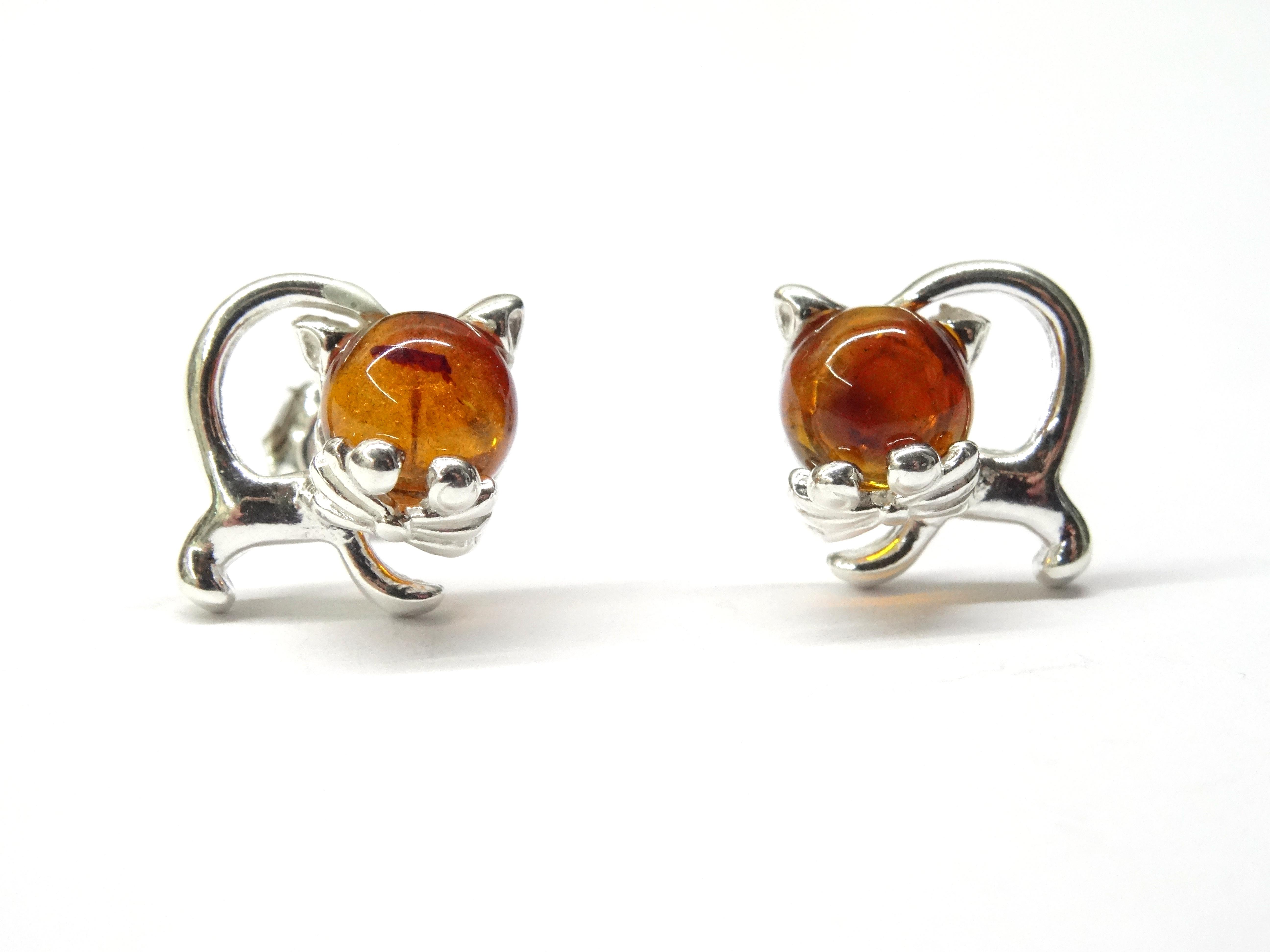 Náušnice - jantarové kočky