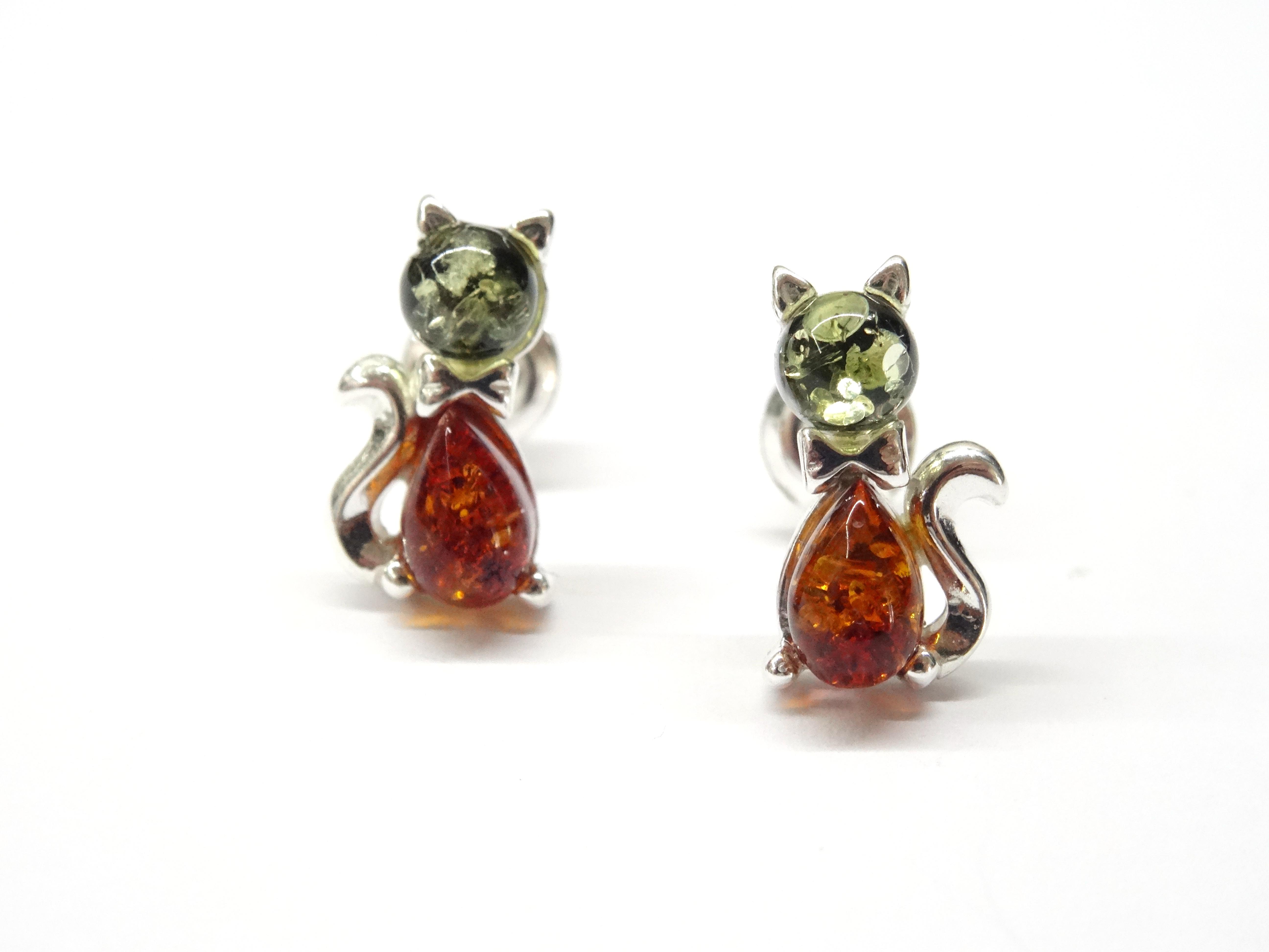 Stříbrné náušnice - kočky