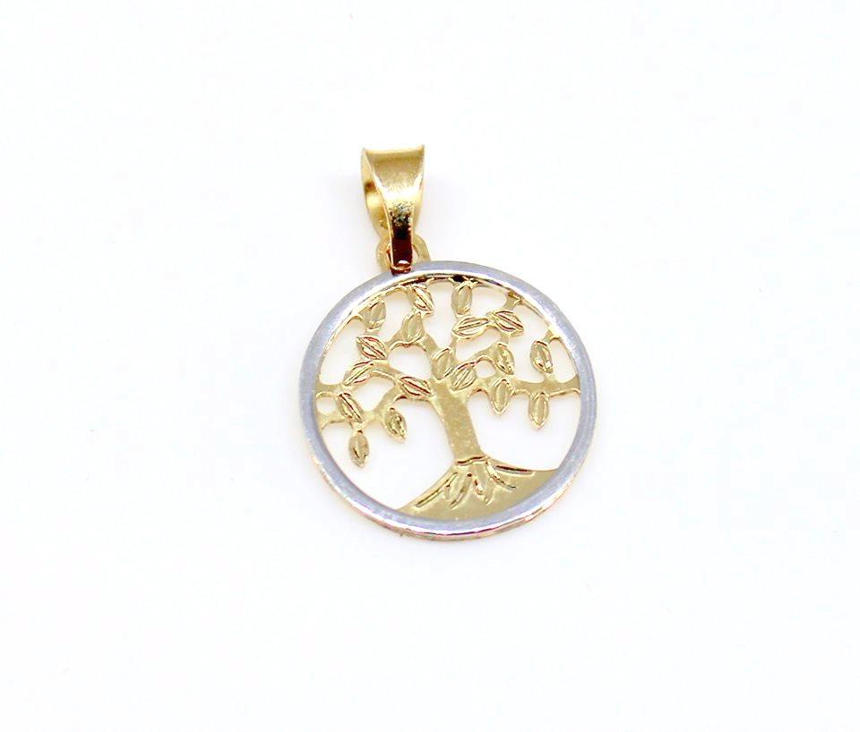Zlatý přívěsek strom života - kombinace žlutého a bílého zlata