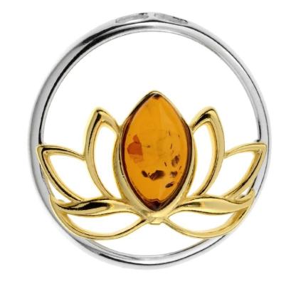 Stříbrný přívěsek s jantarem - lotos
