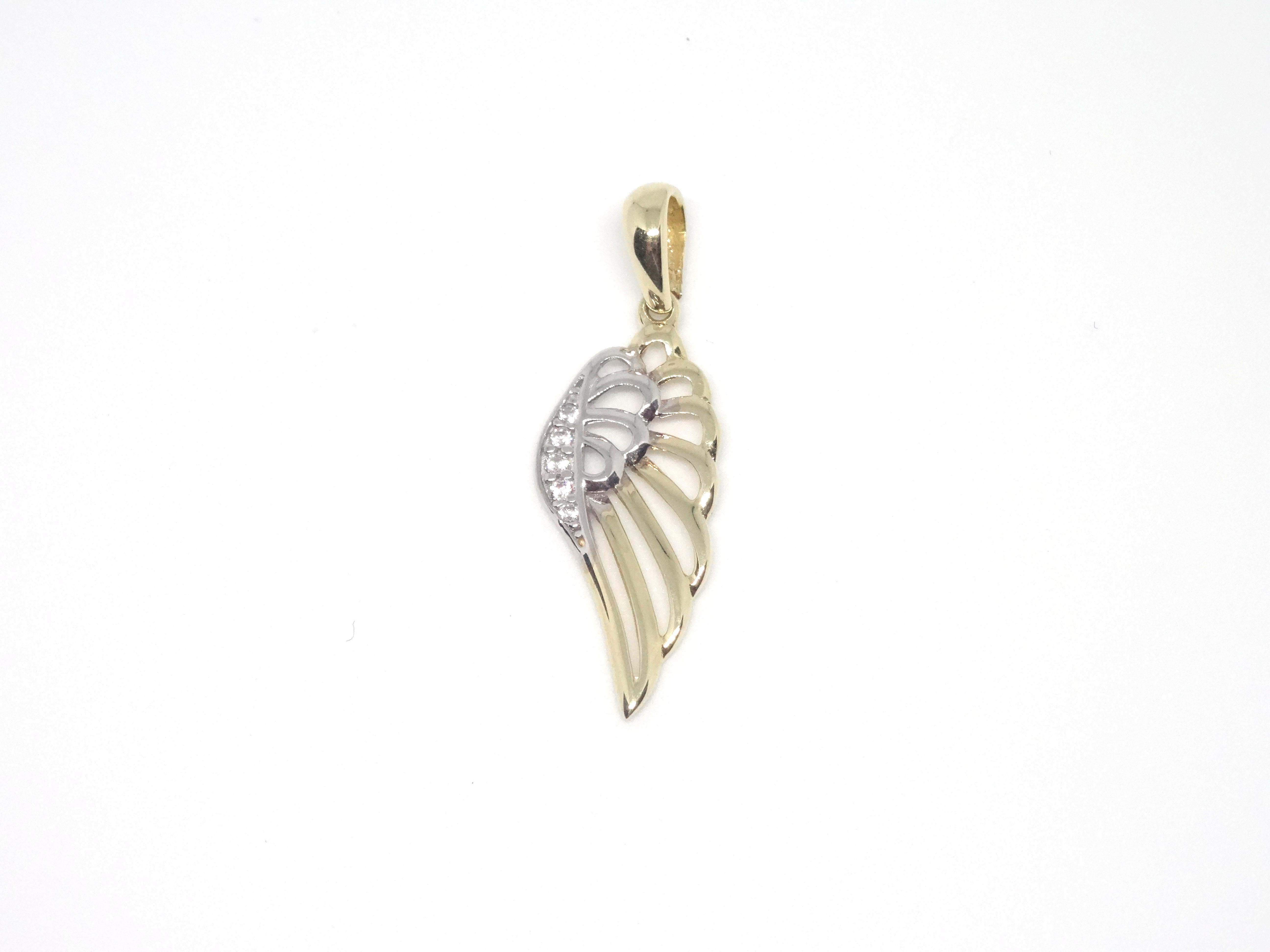 Zlaté andělské křídlo - přívěsek zdobený zirkony