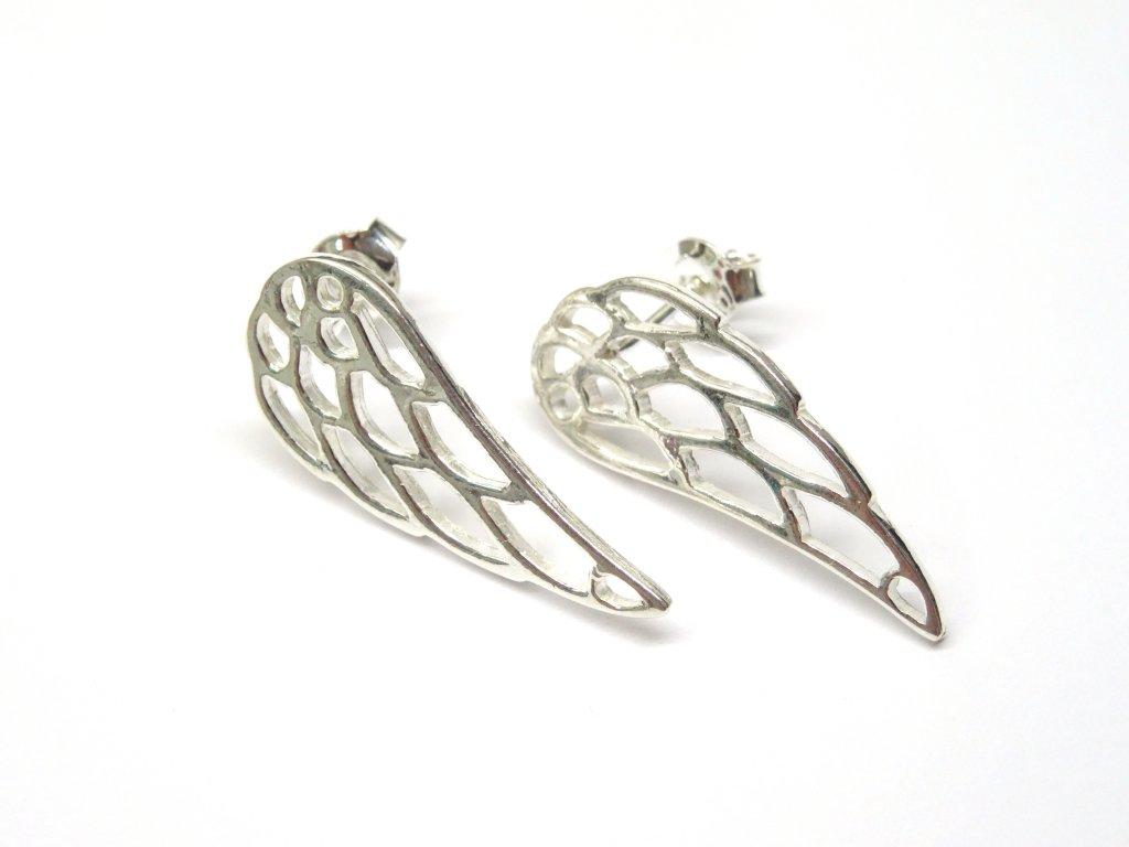 Stříbrné náušnice hladká křídla větší