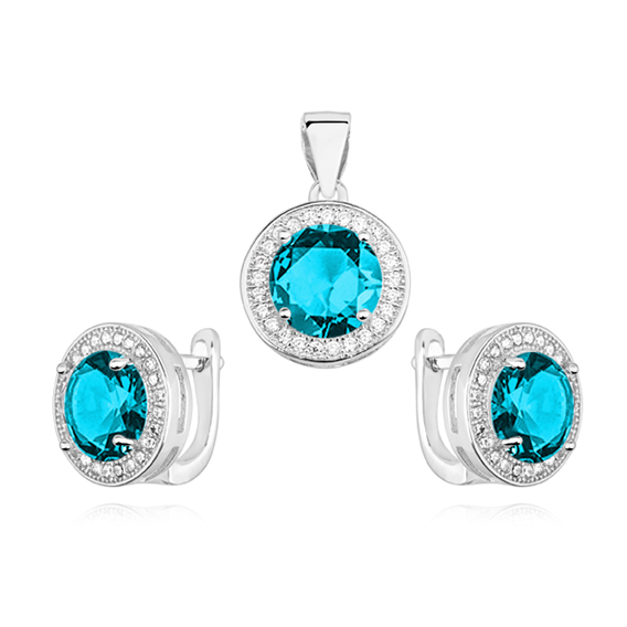Sada stříbrných šperků s kubickými zirkony v tyrkysové