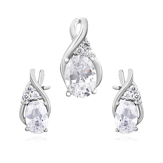 Jemná sada stříbrných šperků s kubickými zirkony