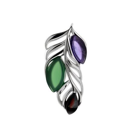 Stříbrný přívěsek - barevné pírko