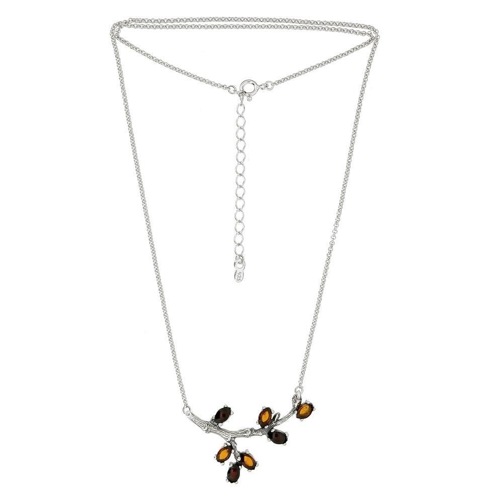 Stříbrný náhrdelník - větvička s lupínky z jantaru