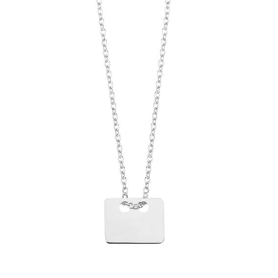 Stříbrný náhrdelník simply hranatý medailon