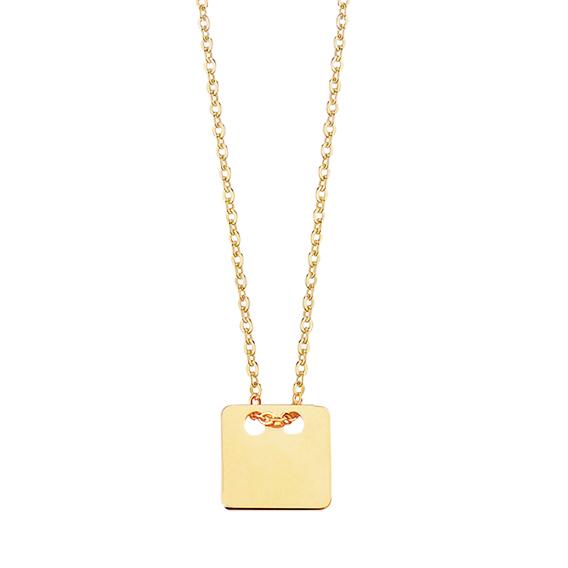 Stříbrný náhrdelník simply hranatý medailon - pozlacený