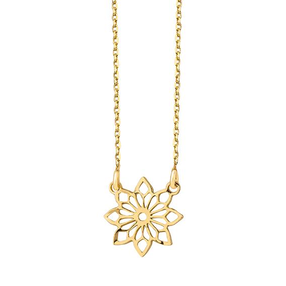 Stříbrný náhrdelník - pozlacený medailon květina