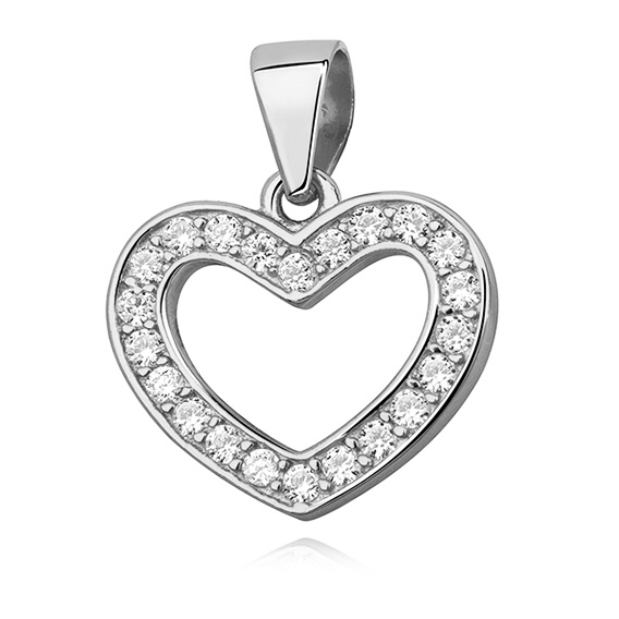 Stříbrný přívěsek srdce vyplněné zirkony