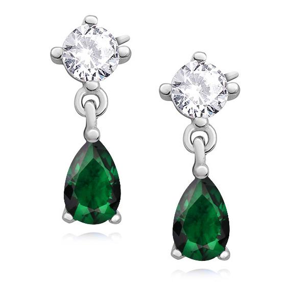 Klasické stříbrné náušnice - smaragdové zirkony - slza