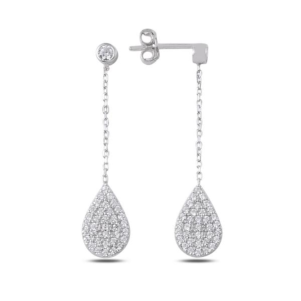 Elegantní stříbrné náušnice se zirkony - slza 3248
