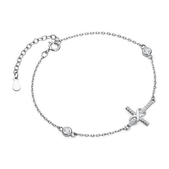 Luxusní stříbrný náramek křížek nekonečno se zirkony