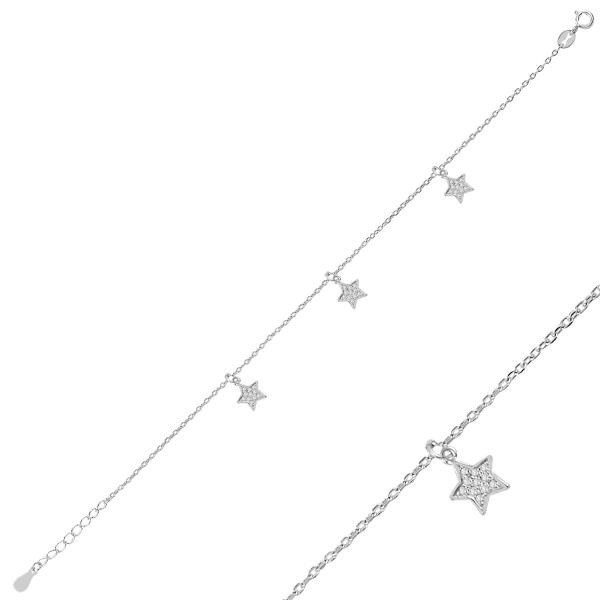 Luxusní stříbrný náramek hvězdy se zirkony