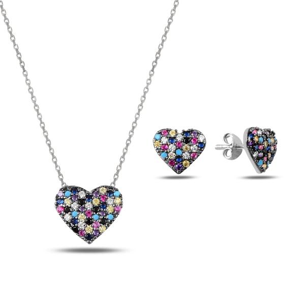 Luxusní stříbrná sada - srdce