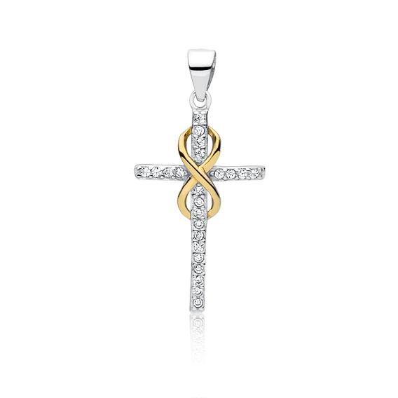Stříbrný přívěsek křížek nekonečno se zirkony - žluté zlacení