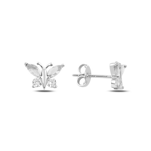 Stříbrné náušnice motýlci - čirý zirkon