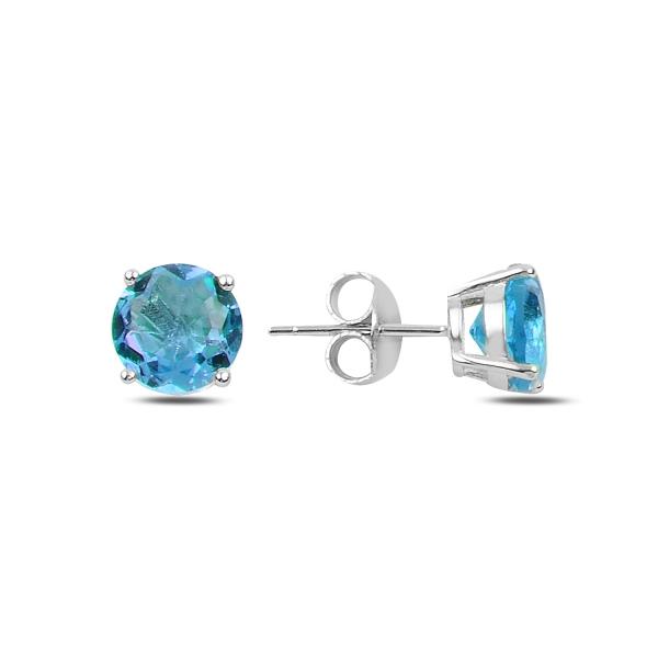 Stříbrné náušnice - modrý zirkon 8 mm
