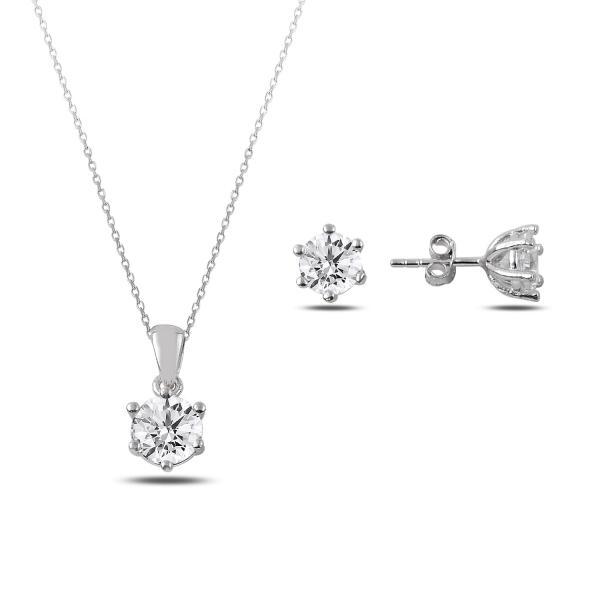 Stříbrná sada šperků - náušnice, náhrdelník