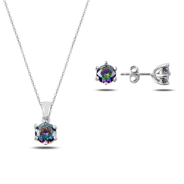 Stříbrná sada šperků s barvenými zirkony