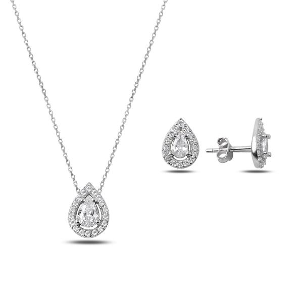 Luxusní stříbrná sada šperků - slzičky