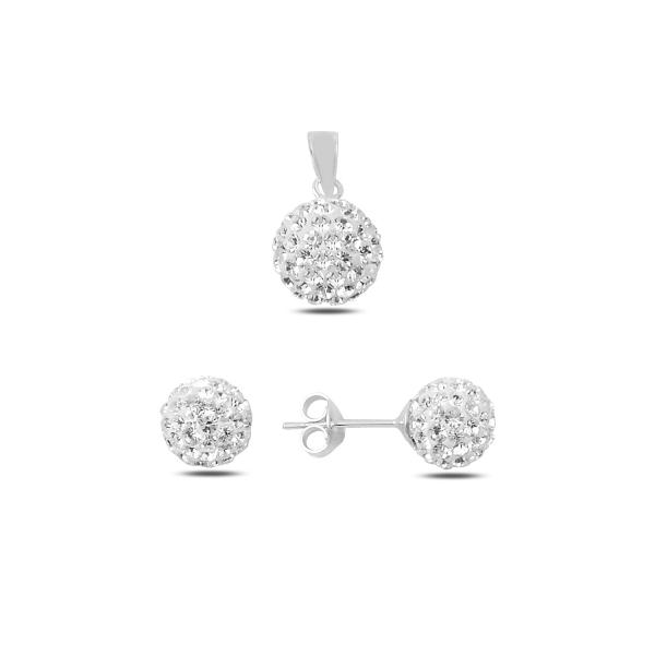 Elegantní stříbrná sada zirkonové kuličky - náušnice, přívěsek