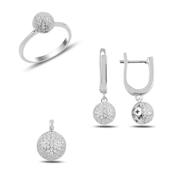 Luxusní stříbrná sada šperků - kuličky
