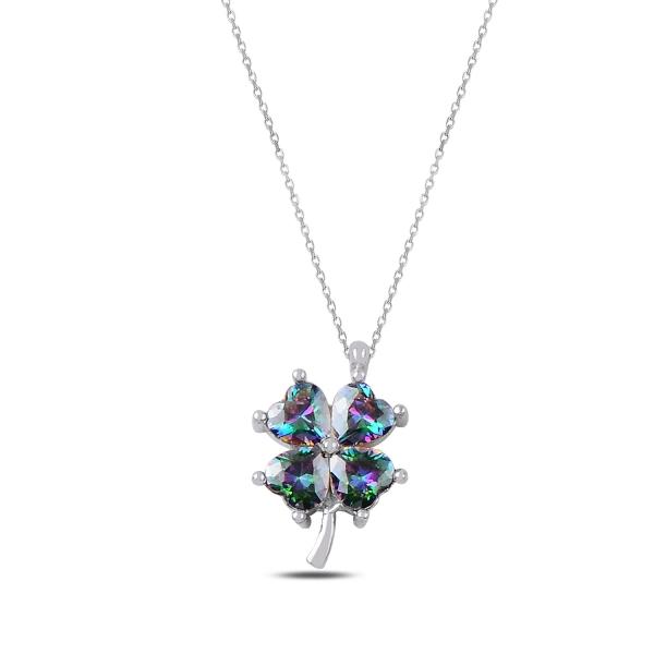 Stříbrný náhrdelník čtyřlístek - barvený zirkon