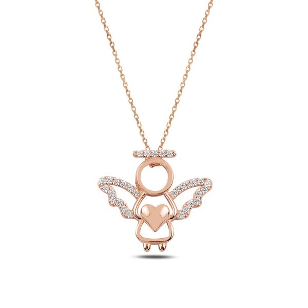 Stříbrný náhrdelník anděl - drobné zirkony - růžové zlacení