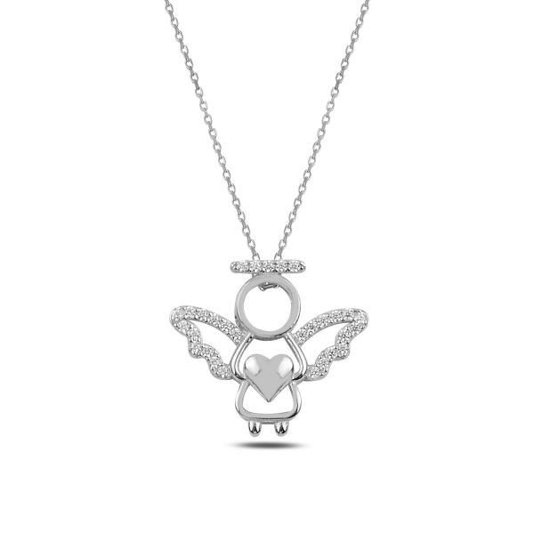 Stříbrný náhrdelník anděl- drobné zirkony