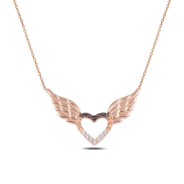 Stříbrný náhrdelník - andělské srdce - růžové zlacení