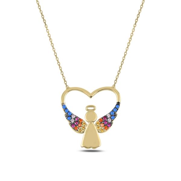 Pozlacený náhrdelník anděl v srdci