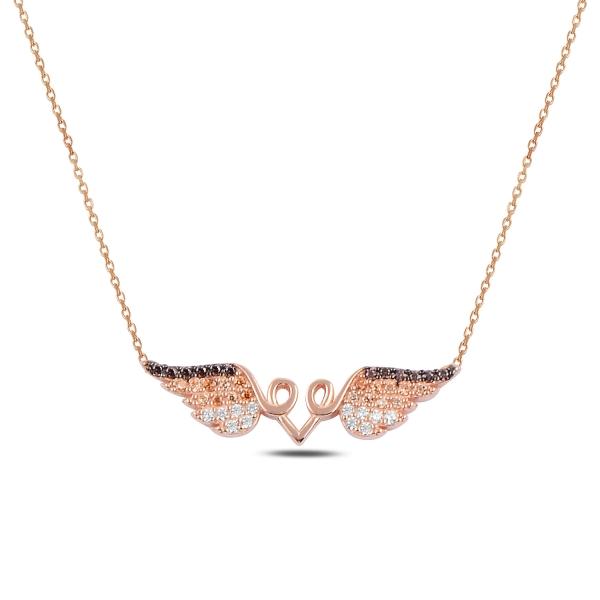 Stříbrný náhrdelník s andělskými křídly - růžové zlacení