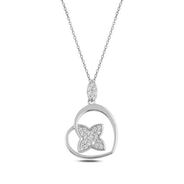 Stříbrný náhrdelník srdce se zirkonovým květem