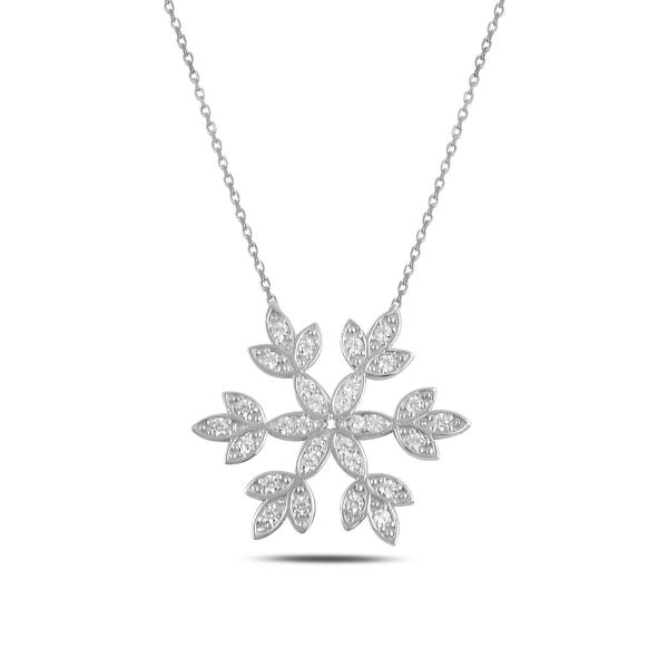 Stříbrný náhrdelník - velká sněhová vločka