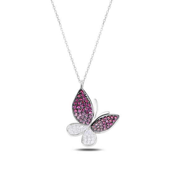 Stříbrný náhrdelník - motýl s barvenými zirkony