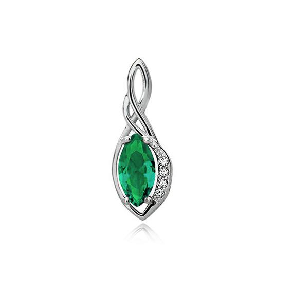 Stříbrný přívěsek - smaragdový zirkon