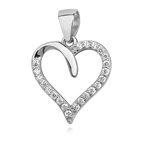Stříbrný přívěsek - srdce se zirkonem