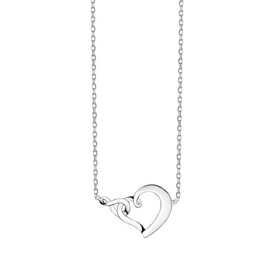Stříbrný náhrdelník s propleteným srdcem