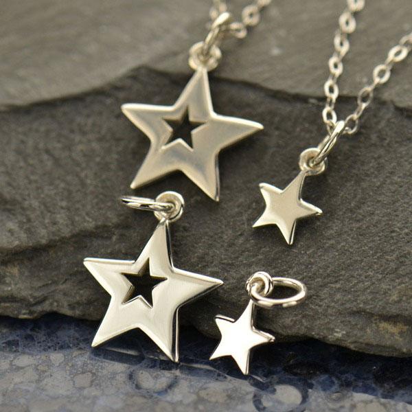Sada stříbrných přívěsků - Hvězdy