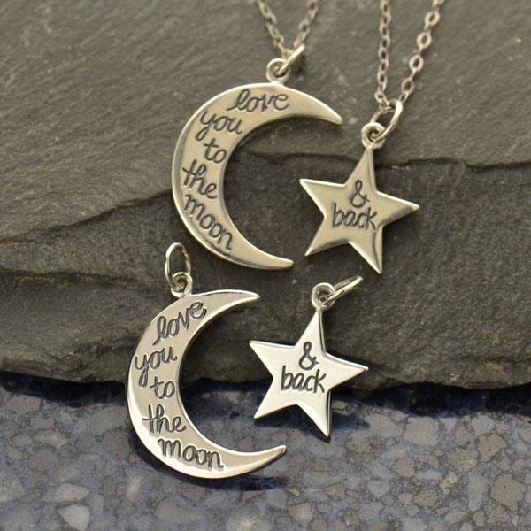 Sada stříbrných přívěsků - Měsíc a Hvězda s nápisem I love You to the Moon and back