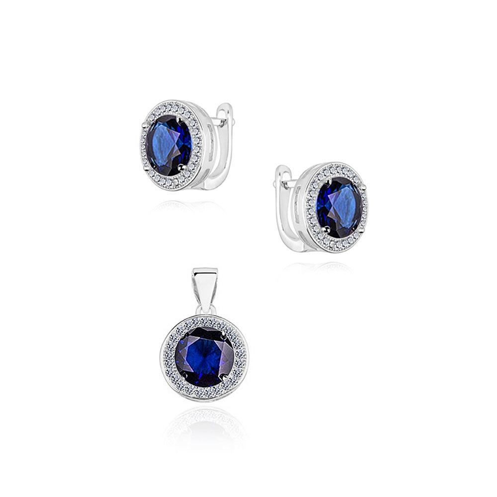 Sada stříbrných šperků s kubickými zirkony v námořnické modré
