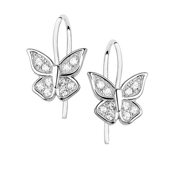Stříbrné náušnice se zirkony - motýlci 504