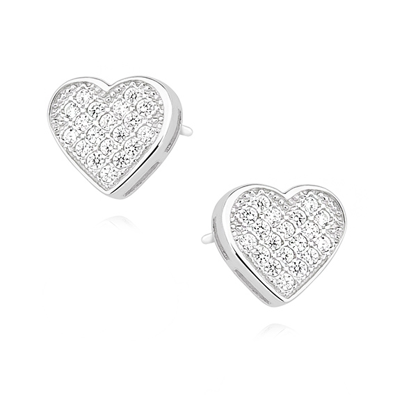 Stříbrné náušnice srdce plné zirkonů