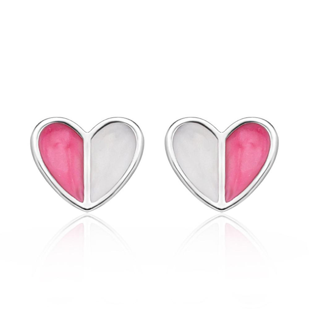 Stříbrné náušnice srdíčka růžový smalt