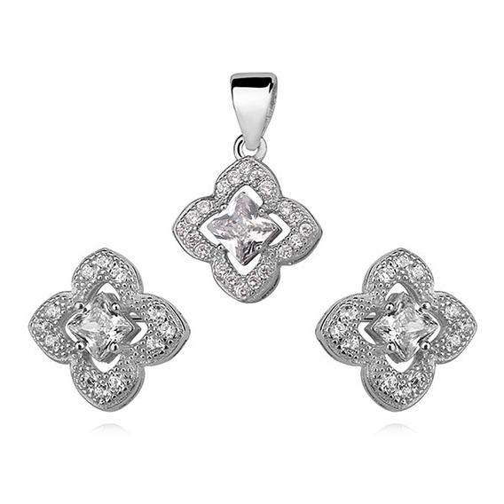 Komplet stříbrných šperků se zirkony