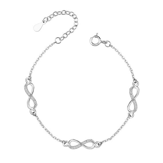 Stříbrný náramek - trojité nekonečno se zirkony