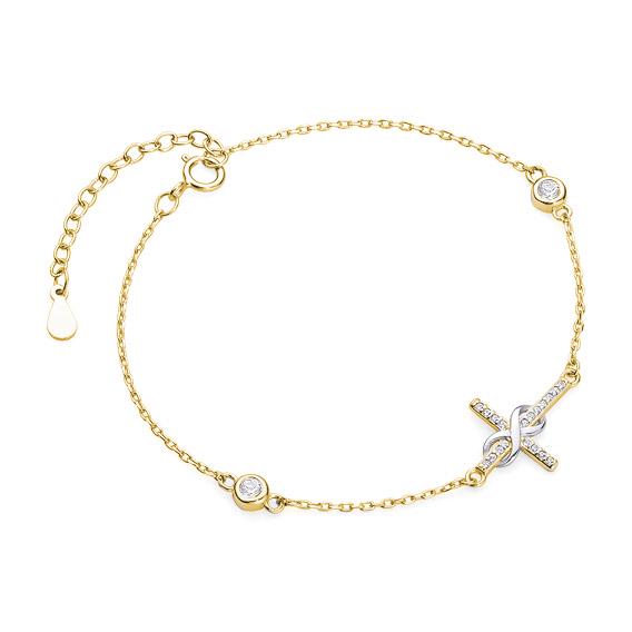 Luxusní stříbrný náramek křížek nekonečno se zirkony - žluté zlacení