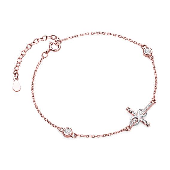 Luxusní stříbrný náramek křížek nekonečno se zirkony - růžové zlacení